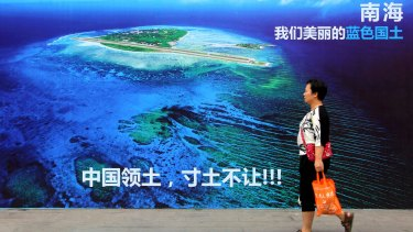 "A billboard reads ""South China Sea, our beautiful motherland, we won't let go an inch"" in China's Shandong province."