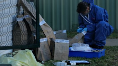 A NSW forensic officer writes on evidence bags in the backyard of Vincent Stanford's home.