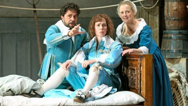 Paolo Bordogna (Figaro), Anna Dowsley (Cherubino) and Taryn Fiebig (Susanna) perform in Opera Australia's <i>The Marriage of Figaro</i>.