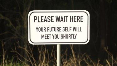 """""""Please Wait Here"""": street art by Sydney street artist Michael Pederson."""