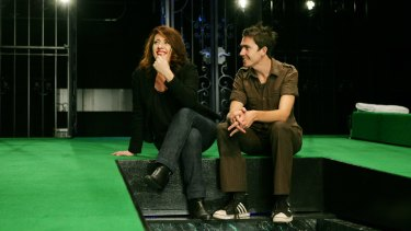 Matt Lutton with Louise Fox on the set of <i>Tartuffe</i> in 2008.