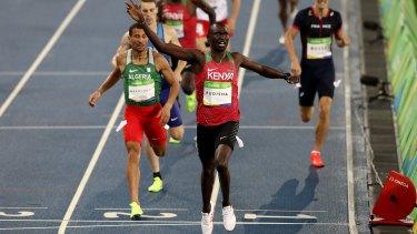 David Rudisha of Kenya crosses the line first in the men's 800m final.