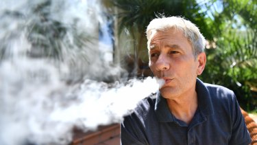 David Stephens has quit smoking is using an e-cigarette.