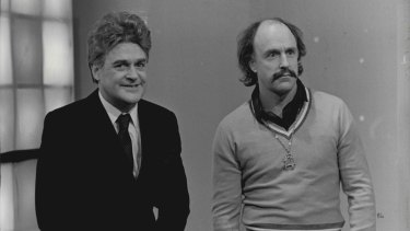 Max Gillies as the compere of a TV games show, with regular writer/actor John (Fred Dagg) Clarke in 1984.