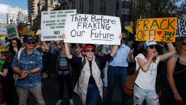 Protestors against gas field developments in Victoria prior to the fracking ban being imposed.