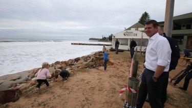 Premier Mike Baird at Collaroy Beach.