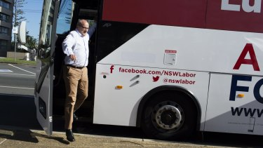 Bussed in: The NSW Labor leader on the campaign trail.