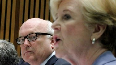 Attorney-General George Brandis and Professor Gillian Triggs, President of the Human Rights Commission, during Tuesday's Senate hearing.