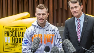 """Final-week nerves: Brisbane welterweight contender Jeff """"Hornet"""" Horn, with his second cousin, Brisbane Lord Mayor Graham Quirk, in the Queen Street Mall."""