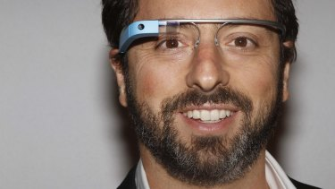 Google CEO and co-founder Sergey Brin models a Glass prototype.