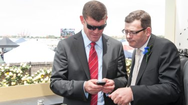 On track: Crown Resorts boss James Packer and then Victoria Opposition Labor leader Daniel Andrews in the Crown Marquee at Victoria Derby Day, 2012.