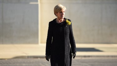 Foreign Minister Julie Bishop, pictured arriving for a MH17 memorial service in Canberra earlier this month, is in New York to convince Russia and allies to back an independent tribunal to prosecute those responsible.