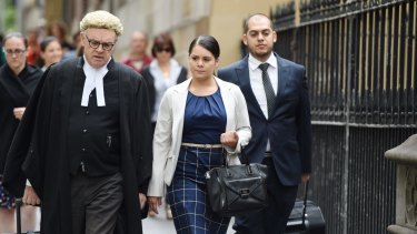 Jessica Silva arrives at court with her legal team on Wednesday.