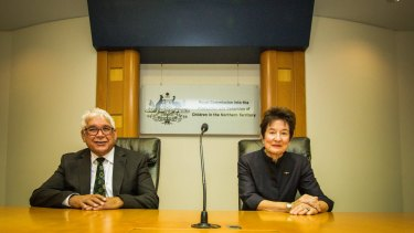 Commissioners Mick Gooda and Margaret White, AO, at a media briefing in Darwin.