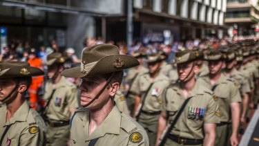 Thousands marched in the Anzac Day parade in Brisbane on Tuesday.