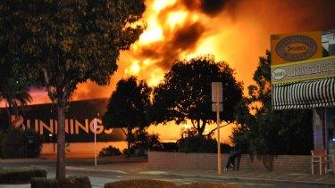 The blaze erupted around 9pm.