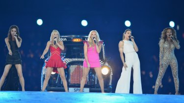 Victoria Beckham, Geri Halliwell, Emma Bunton, Melanie Chisholm and Melanie Brown of the Spice Girls perform during the Closing Ceremony of the 2012 London Olympic Games.