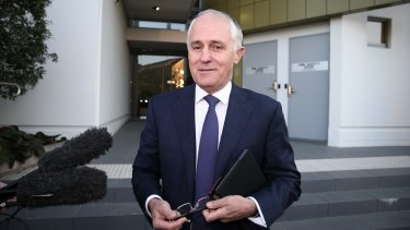 Prime Minister-designate Malcolm Turnbull departs his home for Parliament House on Tuesday morning.