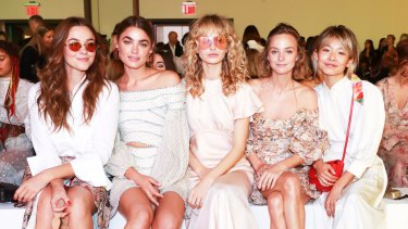 (Left to right) Sydneysiders Demi Harman, Bambi Northwood Blyth, Annabella Barber, Nadia Fairfax and Yan Yan Chan FROW at Zimmermann's spring 2018 Goldentime collection at New York Fashion Week on Monday, September 11, 2017.
