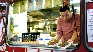 Chef Simon Lawson, who runs Agape Organic Food Truck, offers spelt rolls and spelt brownies.