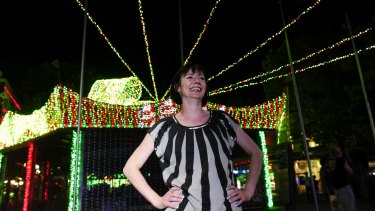 SIDS and Kids ACT chief executive Nathalie Maconachie among the Guinness World record attempt for the largest LED light image display.