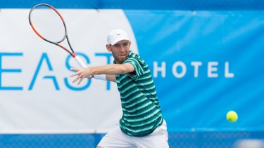 Dudi Sela (ISR) in action during day four of the East Hotel Canberra Challenger. Match was played at the Canberra Tennis Centre in Lyneham, Canberra, ACT on Tuesday 10 January 2017 #eastCBRCH #TennisACT. Photo: Ben Southall. Dudi Sela playing in the Canberra Challenger tennis tournament.
