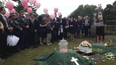 """""""She's our child"""": Baby Lily Grace was buried in the new Garden of Loving Memories at the Eastern Suburbs Memorial Park."""