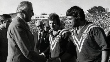 Trail blazer: Arthur Beetson shakes the hand of Gough Whitlam.