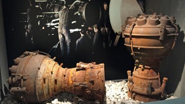 Combustion chambers from German V2 rockets, the forerunners to the Saturn V rockets which sent us to the moon.