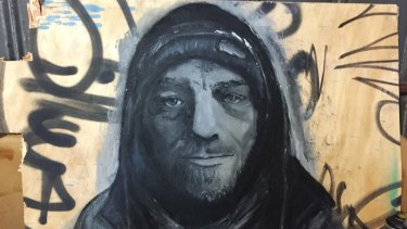 The portrait of ''street father'' Stu, which was entered into the Archibald Prize.