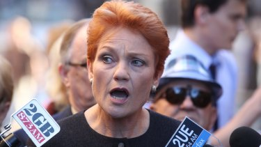 Pauline Hanson on the hustings in June 2013.