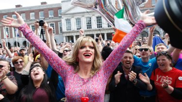Rory O'Neill, known by the drag persona Panti, celebrates Ireland's decision to back gay marriage in the world's first national referendum on the issue.
