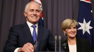 Prime Minister-designate Malcolm Turnbull and Deputy Leader Julie Bishop address the media at Parliament House in Canberra following Monday's Liberal leadership ballot.