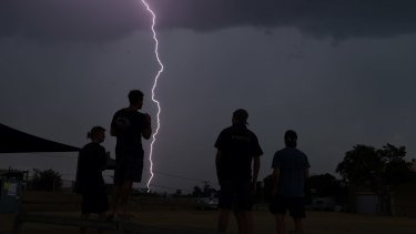 Lightning strikes at Narrabeen as storms move through the Northern Beaches on Monday.