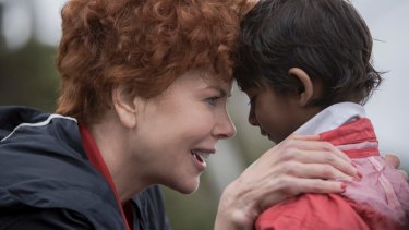 Nicole Kidman with Sunny Pawar, who plays the young Saroo, in <i>Lion</i>.