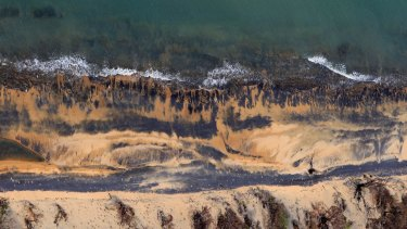 Coal dust on beaches next to Queensland's Abbot Point coal loading facility, which would serve Adani's proposed mine: if the mine is built, 'it will be the biggest subsidised white elephant in the world,' says Thornton.