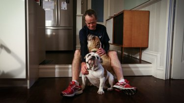 Opposition Leader Bill Shorten with his bulldogs, Matilda and Theodore, at home in Moonee Ponds, Victoria.