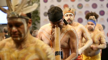 Aboriginal dancers perform at James Packer's launch of Crown's second Reconciliation Action Plan.
