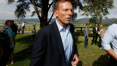 Tony Abbott visits Castlereagh in Sydney's western suburbs on Sunday morning.