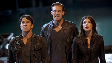 Stephen Moyer as Bill, Alexander Skarsgard as Eric and Lucy Griffiths as Nora in True Blood.