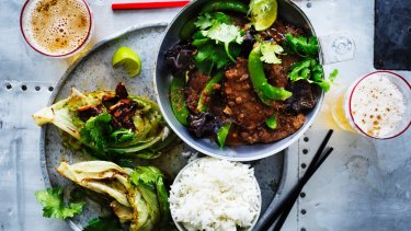 Thai-style beef with sugar snap peas.