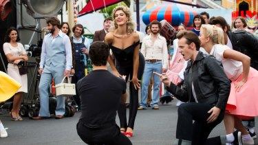 Olivia Newton-John (Delta Goodrem) as the transformed Sandy in <I>Grease</I>.