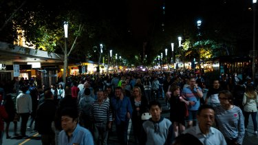 Thousands of people flocked to the CBD during White Night, Melbourne.