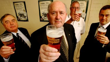 The launch of the Raise a Glass initiative at the Kent Hotel in 2009. Peter Cosgrove, centre, with Stephen Finney from the RSL, Ray Kelly of Legacy and John Ston from VB.