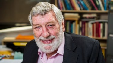 Professor Desmond Ball in his office at the Australian National University in 2013.
