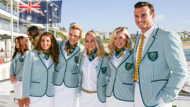 New look: Australian athletes Jessica Fox, Louise Bawden, Kaarle McCulloch, Annette Edmonson and Ed Jenkins pose in their Olympic Games opening ceremony uniforms.