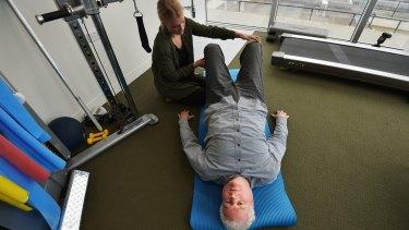 John Allison with exercise physiologist Thea Richardson.