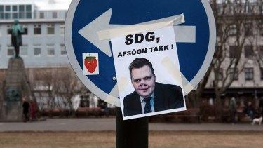 A picture mimicking Sigmundur Gunnlaugsson near the Icelandic Parliament building in downtown Reykjavik.