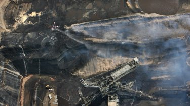 The fire at the Hazelwood open-cut mine in 2014.