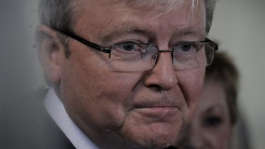 Former prime minister Kevin Rudd's website was blocked within parliament.